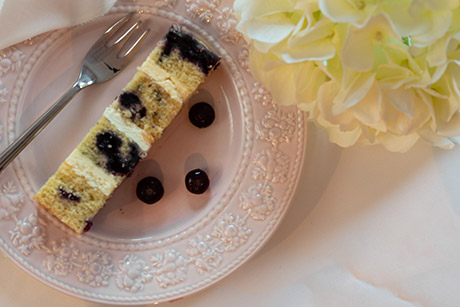 Blueberry and lemon flavour wedding cake