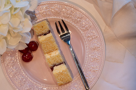 Cherry Bakewell flavour wedding cake